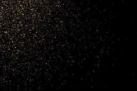 strass: Gold glitter texture on a black background. Holiday background. Golden explosion of confetti. Golden grainy abstract  texture on a black  background. Design element. Vector illustration,eps 10.