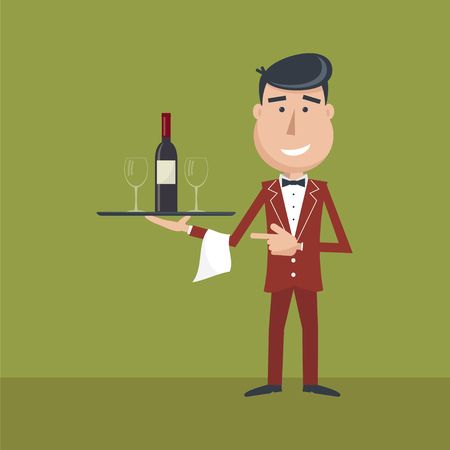 Waiter with wine bottle and wine glass and tray on outstretched arm. Invitation to drink wine. Alcohol Service. Simple flat vector.EPS 10. Illustration