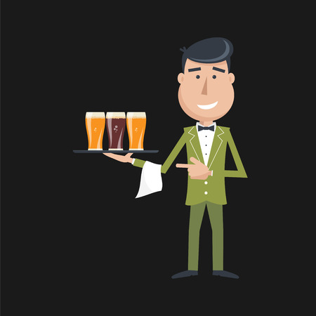 catering service: Waiter with three glasses of beer and tray on outstretched arm. Invitation to have a beer. Foods Service . Simple flat vector.EPS 10. Illustration