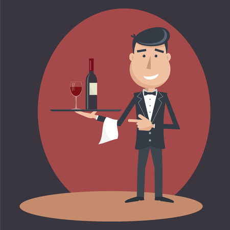 outstretched: Waiter with wine bottle and wine glass and tray on outstretched arm. Invitation to drink wine. Alcohol Service. Simple flat vector.EPS 10. Illustration