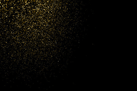 Gold glitter texture on a black background. Holiday background. Golden explosion of confetti. Golden grainy abstract  texture on a black  background. Design element. Illustration