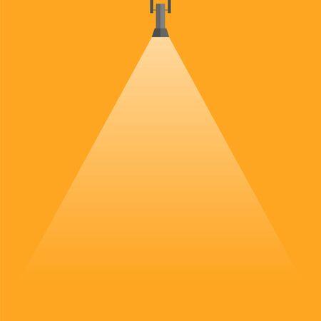 輝くダウン スポット ライトします。黒の吊りランプです。デザイン要素。ベクトル図