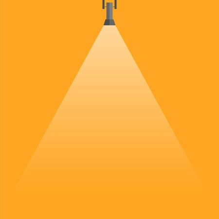 Spotlight shining down. Black hanging lamp. Design element. Vector illustration 矢量图像