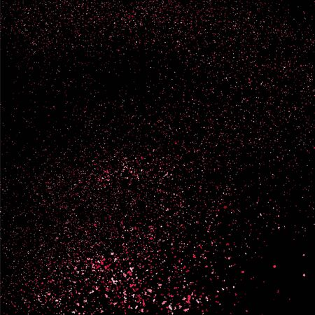 pink and black: Pink glitter texture on a black background. Pink explosion of confetti. Pink grainy abstract  texture on a black  background.  Event vector background.  Vector illustration