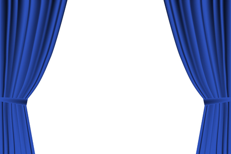 spectacle frame: Blue curtain opened on  white background.
