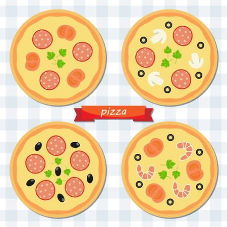 cooking icon: Pizza flat icon. Vector set fast food.  Vector set of elements design. Illustration