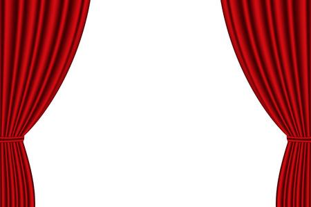 cortinas rojas: abrió la cortina roja sobre fondo blanco. ilustración vectorial