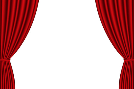 Red curtain opened on  white background. Vector illustration Vettoriali
