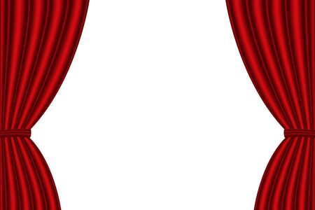 spectacle frame: Red curtain opened on  white background. Vector illustration Illustration