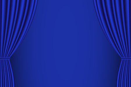 blue curtain: Blue curtain opened with blue background. Vector illustration