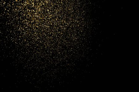 white party: Gold glitter texture on a black background. Holiday background. Golden explosion of confetti. Golden grainy abstract  texture on a black  background. Design element.