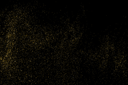 strass: Gold glitter texture on a black background. Holiday background. Golden explosion of confetti. Golden grainy abstract texture on a black  background. Design element.