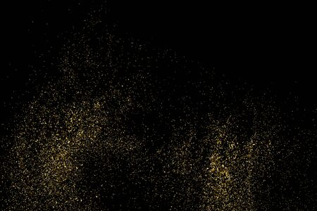 rich black wallpaper: Gold glitter texture on a black background. Holiday background. Golden explosion of confetti. Golden grainy abstract  texture on a black  background. Design element. Illustration