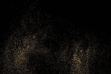strass: Gold glitter texture on a black background. Holiday background. Golden explosion of confetti. Golden grainy abstract  texture on a black  background. Design element. Illustration
