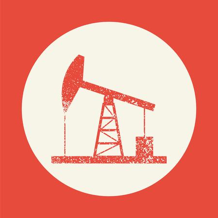 oil derrick: Oil derrick icon. Vintage style simple flat vector illustration, EPS 10. Illustration
