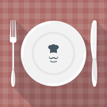 etiquette: Plate, knife and fork with long shadows. Dining etiquette. Foods Service icon. Menu card. Simple flat vector illustration, EPS 10.