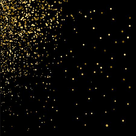 Złoty brokat tekstury na czarnym tle. Złoty eksplozja konfetti. Złoty ziarniste streszczenie tekstury na czarnym tle. Tło wakacje. element projektu. ilustracji wektorowych, EPS 10.