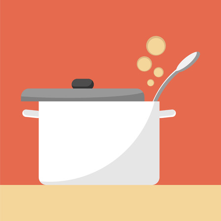 broth: Saucepan with lid open.