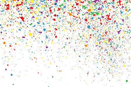 GRAINY: Colorful explosion of confetti. Colored stains and blots. Grainy abstract  colorful texture isolated on white background.