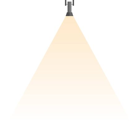 Spotlight shines down isolated on white background. Black hanging lamp. Design element. Illustration