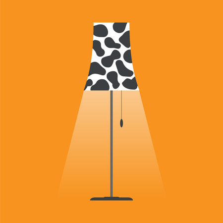 retro cartoon: Floor lamp with shade spotty.Simple flat vector illustration Illustration