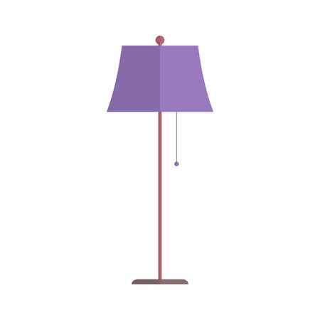 lampshade: Floor lamp isolated on white background. Simple flat vector illustration