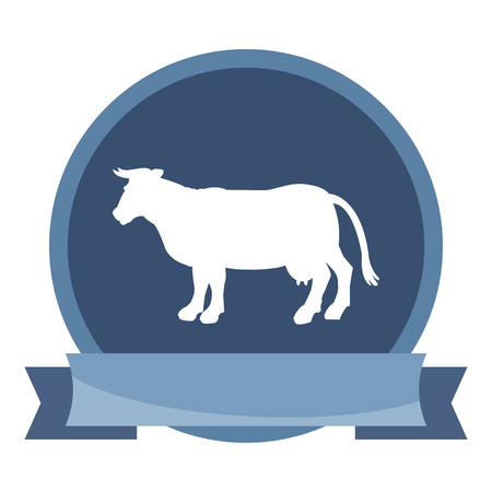 bull cartoon: Silhouette of cow icon. Simple flat vector illustration, EPS 10.