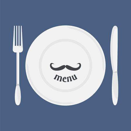 etiquette: Plate, knife and fork. Dining etiquette. Foods Service icon. Menu card. Simple flat vector illustration, EPS 10. Illustration