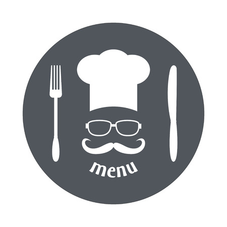 Hipster chef  hat with mustache and glasses. Foods Service round icon. Simple flat vector illustration, EPS 10. Illustration
