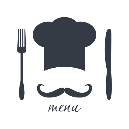 big hat: Big chef hat with mustache. Foods Service icon. Menu card. Simple flat vector illustration, EPS 10.