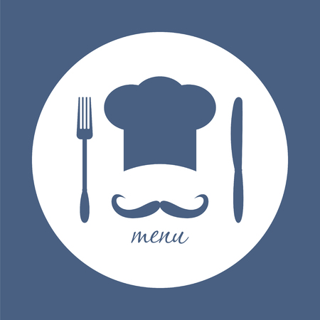 big hat: Big chef hat with mustache. Foods Service round icon. Simple flat vector illustration, EPS 10.