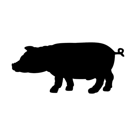 pigling: Black silhouette of pig isolated on white background. Simple flat vector illustration, EPS 10.