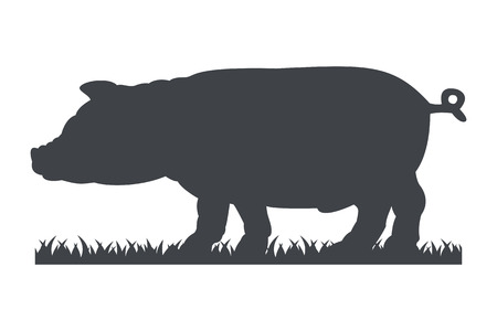 pigling: Silhouette of pig isolated on white background. Simple flat vector illustration, EPS 10.