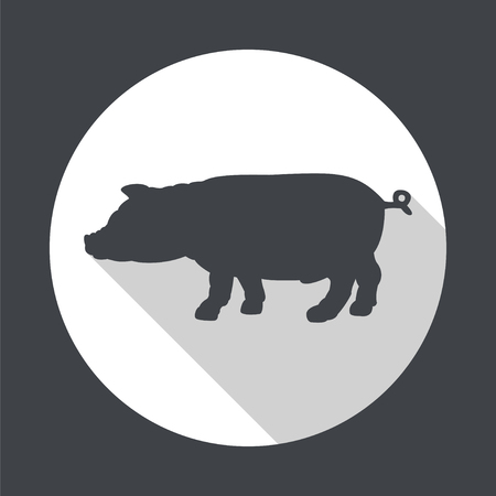 pigling: Silhouette of pig. Round flat vector icon  with long shadow. EPS 10. Illustration