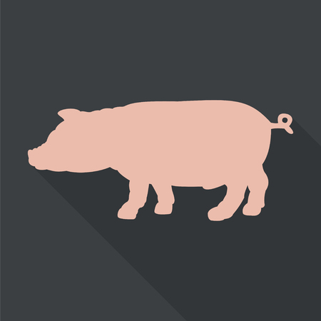 porcine: Pink silhouette of pig. Flat vector icon  with long shadow. EPS 10.