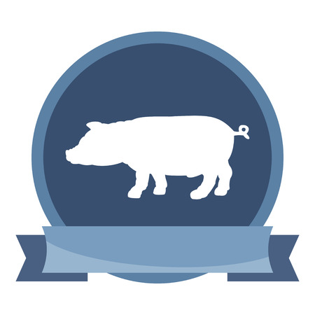 porcine: Silhouette of pig icon. Simple flat vector illustration, EPS 10.