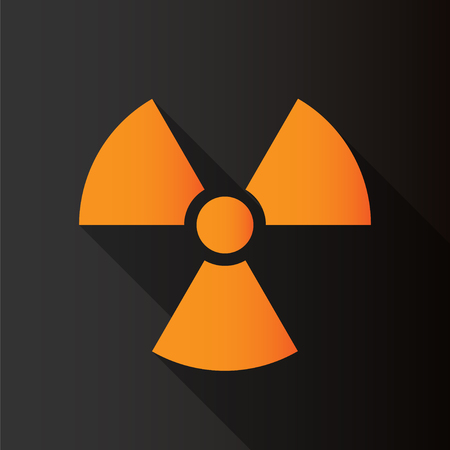 radioactive symbol: Radioactive symbol on black background with long shadow. Design element. Vector illustration