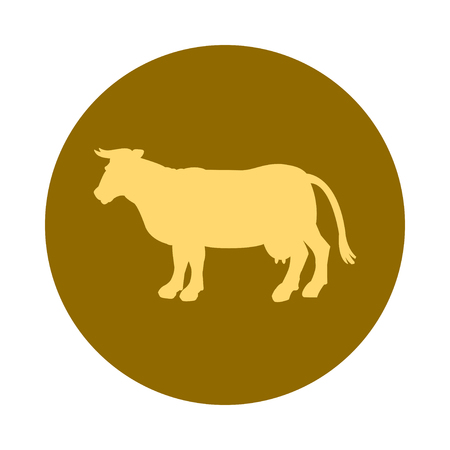 gold silhouette: Gold silhouette of cow. Gold icon. Simple flat vector illustration Illustration