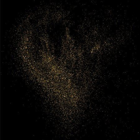 strass: Gold glitter texture on  black background. Golden explosion of confetti.