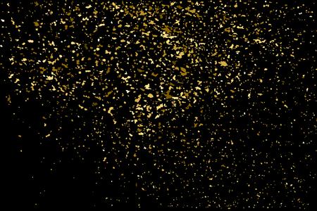 Goud glitter textuur op een zwarte achtergrond. Gouden explosie van confetti. Gouden korrelige abstracte textuur op een zwarte achtergrond. Ontwerpelement. Vector illustratie