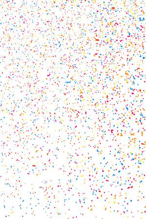Explosión de colores de confeti. Granulado textura de colores abstracta aislado sobre fondo blanco. elemento de diseño plano. Ilustración del vector,