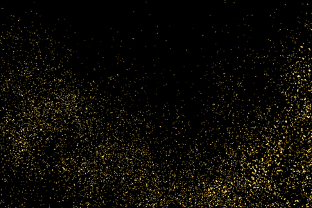 GRAINY: Gold glitter texture on a black background. Golden explosion of confetti. Golden grainy abstract texture on a black background. Design element. Vector illustration,eps 10.