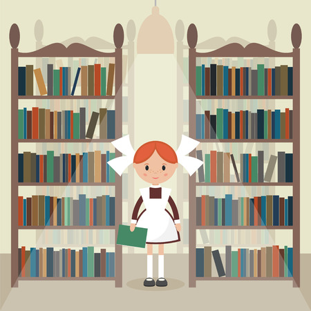 pinafore: Soviet cartoon schoolgirl in library. Soviet schoolgirl in school uniform.  Flat vector illustration. Illustration