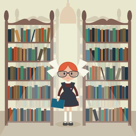 soviet: Soviet cartoon schoolgirl in library. Soviet schoolgirl in school uniform.  Flat vector illustration. Illustration