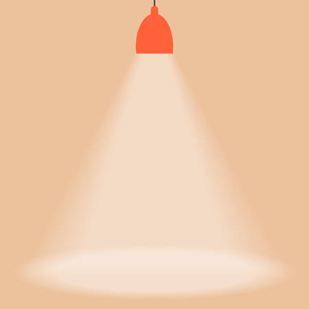 hanging lamp: Spotlight shines down isolated on brown background. Red hanging lamp. Design element. Vector illustration