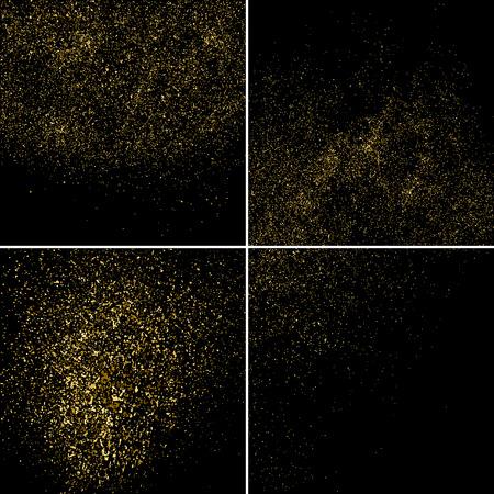 aureate: Gold glitter texture on a black background. Set aureate design element.  Golden explosion of confetti.  Vector illustration