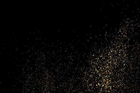 strass: Gold glitter texture on a black background. Golden explosion of confetti. Golden grainy abstract texture on a black background. Design element. Vector illustration,eps 10.