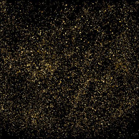 strass: Gold glitter texture on a black background. Illustration