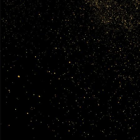 aureate: Gold glitter texture isolated on black. Celebratory background. Golden explosion of confetti. Vector illustration Illustration