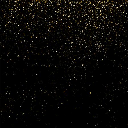Gold glitter texture isolated on black. Celebratory background. Golden explosion of confetti. Vector illustration Illustration